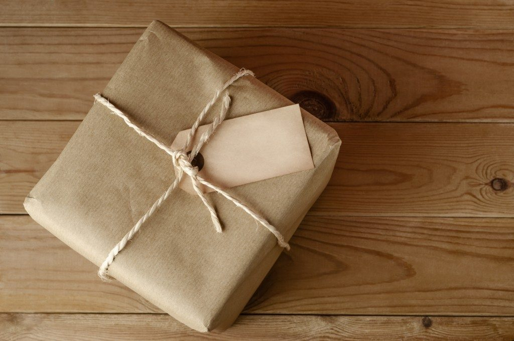 manila paper covered package